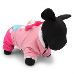 Schöne Sticken nette Kaninchen korallenrote Vlies Katze Hundewinter rosa Kleidung