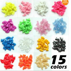 M Size Multi-Color Soft Dog Pet Nail Caps Claw Contril Paws Off