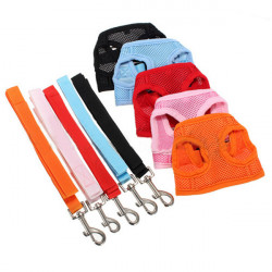 M Size Soft Pet Mesh Girth Harness Vest With Safety Leash