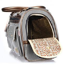 New Fashion Stripe Hvalp Hund Kat Kæledyr Carrier Mulepose Håndtaske