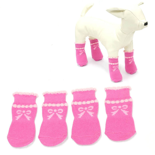 Anti Rutsch Blase Hundereizende Socken Haustier Rosa Bogen Knoten Muster trifft Haustierzubehör
