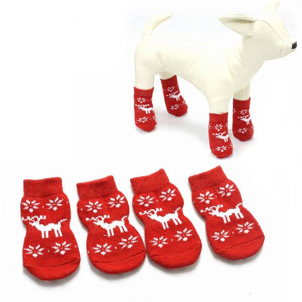 Anti Rutsch Blase Haustier Socken Red Elk Muster Weihnachtshundesocken Haustierzubehör
