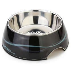 Pet Black Ribbon Stainless Steel No-slip Dog Cat Bowl