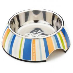 Pet Blau Grün Streifen Inox Stahl Rutsch Dog Cat Bowl