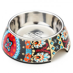 Pet Bowl Folk Pattern Stainless Steel No-slip Dog Bowl