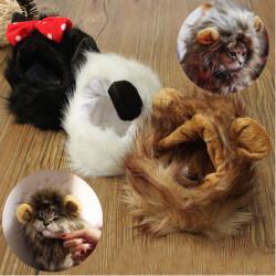 Husdjur Katt LejonMane Peruk Fyllda Hatt Med Öron