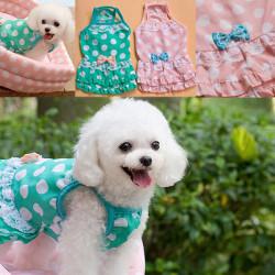 Pet Clothes Bowknot Polka Dot Dog Dress Skirt