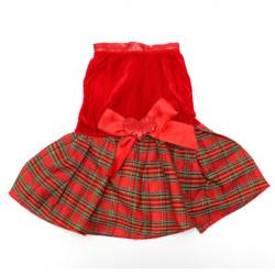 Haustier Hund Katze Bowknot Herz Rot Plaid Partei kleidet Kleid Rock