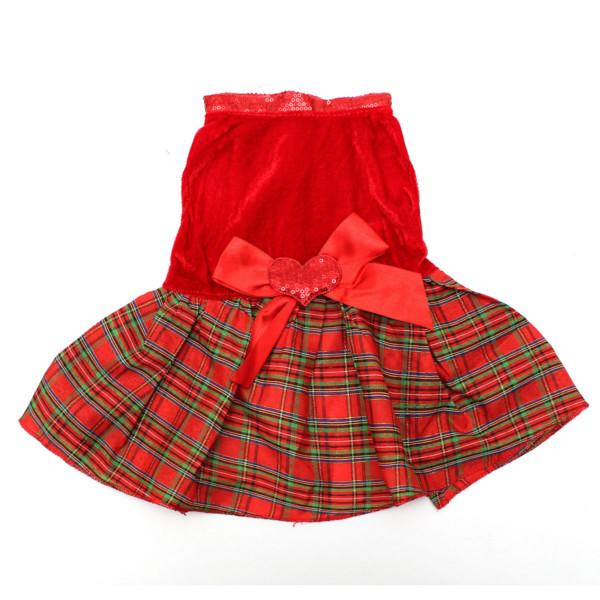Pet Dog Cat Bowknot Heart Red Plaid Party Clothes Dress Skirt Pet Supplies