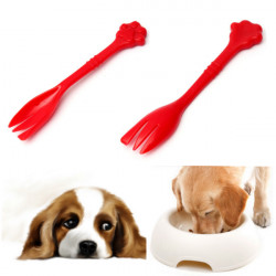 Pet Dog Cat Feeding Can Tin Food Fork Mixing Spoon Red 7.48Inch