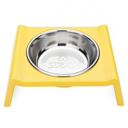 Pet Dog Cat Food Bowl M Shape Stainless Steel Bowl