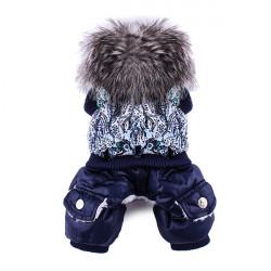 Husdjur Hund Kattpäls Halsband Lyxig Overall Kläder Bomull Kostym Blå