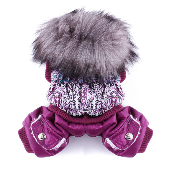 Pet Dog Cat Luxurious Jumpsuit Clothes Cotton Coat Costume Purple Pet Supplies