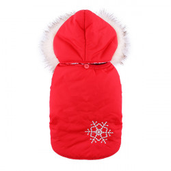 Pet Dog Cat Snowflake Two Layer Cotton Coat Jumpsuit Costume Winter