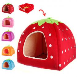 Pet Dog Cat Soft Strawberry Sponge Foldable Bed Cushion Nest