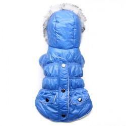 Haustier Hund kleidet mit Kapuze Blue Winter Tasche beidseits Warm Baumwollmantel