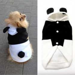 Husdjur Hund Ull Panda Öron Hoody Vinter Varm Rock Ytterkläder Kostym