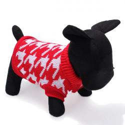 Husdjur Hund Stickad Andningsbara Tröja Outwear Kläder Röd Svart