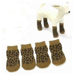 Pet Dog Leopard Print Slip-Resistant 100% Cotton Knitted Socks