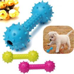 Husdjur Hund Gummi Barbell Dental Tandrengöring Tugg Play Leksak