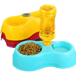 Pet Double Circle Automatic Water Drinking Feeding Basin Food Bowls