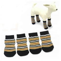 Pet Horizontal Brown Streifen Baumwolle gestrickte Anti Rutsch Socken
