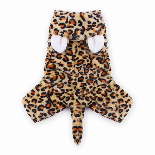 Husdjur Leopardtryck Vinter Overall Kläder Hund Katt Kappa Kostym Husdjurstillbehör