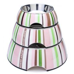 Pet Rosa Grün Streifen Inox Stahl Rutsch Dog Cat Bowl