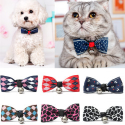 Pet Polyester Dog Puppy Cat Bow Tie Necktie Cute Bowknot With Bell