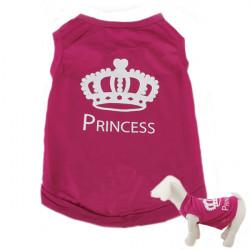 Pet Puppy Dog Princess T-shirt Rose Pink Printed Vest