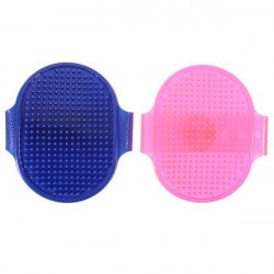 Pet Soft Grooming Hair Brush Oval Rubber Adjustable Strap Bath Comb