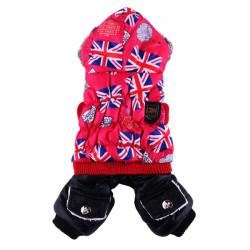 Pet UK Flag Cotton Thick Jumpsuit Hoodie Dog Cat Coat Winter