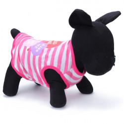 Haustier Weste Sommer Rippen elastische Streifen Hundewelpen rosa T Shirt