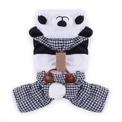Pet Yuppie Panda Klammer England Art Baumwolloverall Mantel Kostüm