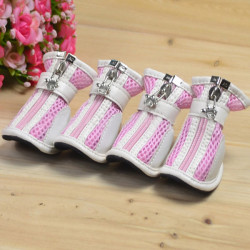 Pink Anti-slip Venting Nylon Mesh PU Pet Dog Shoes