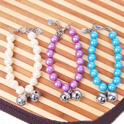 Ren Pearl Två Bells Husdjur Halsband Halsband Tre Färger