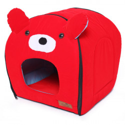 Red Bear With Ear Pet Dog Cat House