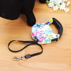 Retractable Extendable Flowers Print Walking Lead Pets Dogs Cats Leash