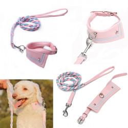 S PU Leder Hundetrainings Gehen Seil Lead & Halsbänder Set