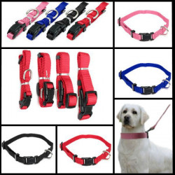 S Pet Dog Cat Puppy Adjustable Collar Solid Nylon Strap