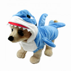 Shark Design Pet Dog Cat Clothes Jumpsuit Winter Blue