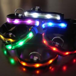 Größe L Nylon Sicherheits Blitzen Glühen Licht LED Hundehalsband