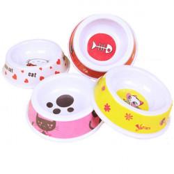 Small Size Lovely Pet Cartoon Pattern Plastic Feeder Bowl