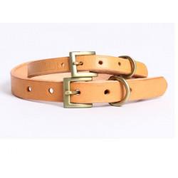 Smidig Golden Spänne Rent Läder Husdjur Halsband för Small Medium Dog