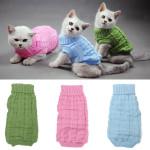 Solid Color Husdjur Hund Stickad Andningsbara Varm Tröja Vinter Ytterkläder Husdjurstillbehör