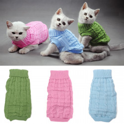 Solid Color Pet Dog Knitted Breathable Warm Sweater Winter Outwear