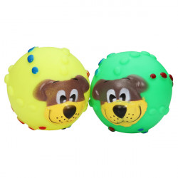 Squeaky Dog Face Printed Ball Toy for Pets Dogs Cats