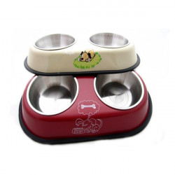 Edelstahl Haustier Hundehaustier Katze Pet Food Bowl Tränkebecken Doppel Bowl