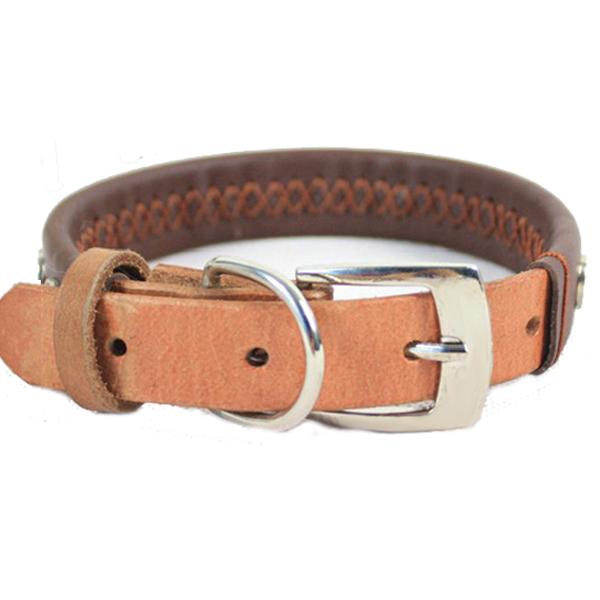 Beschlagene Leder mit Nieten Hundehalsband verstellbaren Lederhundehalsband Haustierzubehör