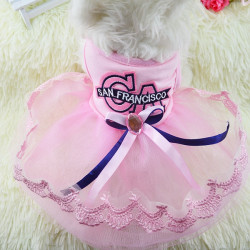 Summer Dog Dress Puppy Princess Dress CA Lace Yarn Pet Dog Skirt